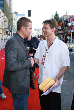 Paul Walker and Braden Wright at the Eight Below premiere, 2006 (credit: Alex Berliner)